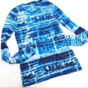 Saucony Long Sleeve burn out running tee blue